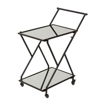 Amalfi Jacob Black Metal Drinks Trolley 72 x 91cm