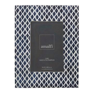 "Amalfi Nita Capiz 4 x 6"" Photo Frame Navy Blue Made In The Philippines"