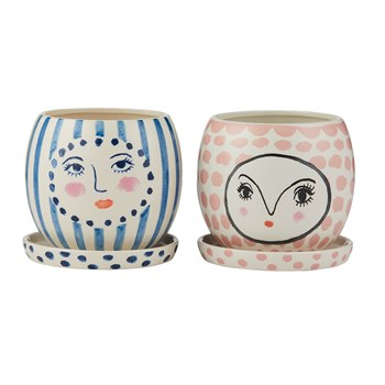 Emporium Ceramic 2-Piece Fifi & Fren Face Pots Set Assorted Designs