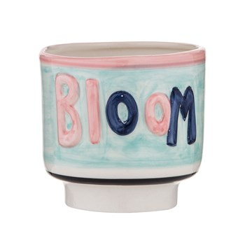 Emporium Earthenware Bloom Planter Pot 13 x 12cm Blue & Pink