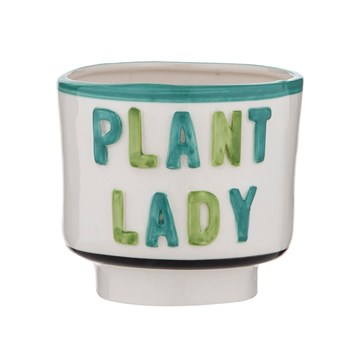 Emporium Ceramic Plant Lady Planter Pot 13 x 12cm White & Green