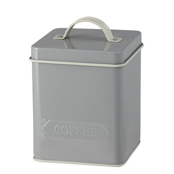 Pantry Embossed Coffee Canister Grey