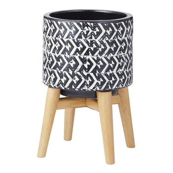 Amalfi Issey Planter with Stand Black 25cm