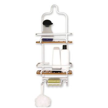 Urban Lines Cove Aluminium & Bamboo Shower Caddy