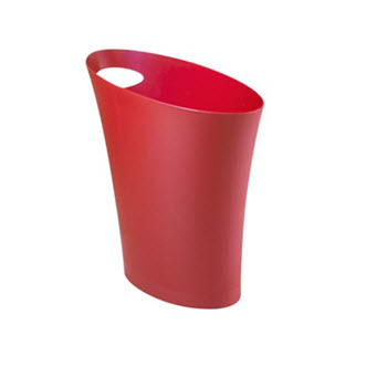 Umbra Skinny Can Red Rubbish Bin