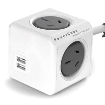 Allocacoc Powercube with 2 USB & 4 Power Sockets 3m Grey
