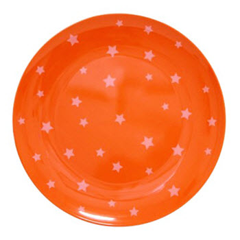 Barel Designs White Star on Orange Melamine Plate 20cm