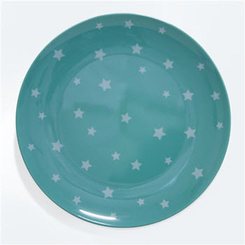 Barel Designs White Star on Green Melamine Plate 25cm