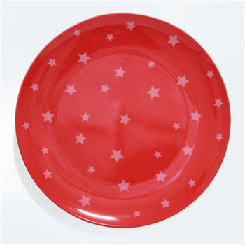 Barel Designs White Star on Red Melamine Plate 25cm
