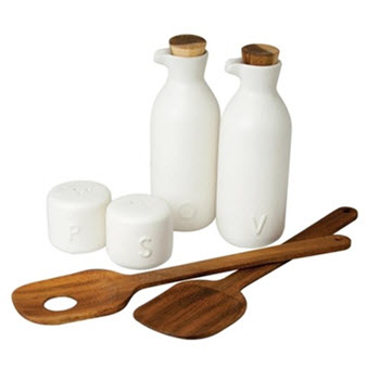 Salt & Pepper Matte 6 Piece Salad Set White
