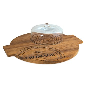 Salt & Pepper Fromage Acacia Wood Board with Glass Dome 40cm