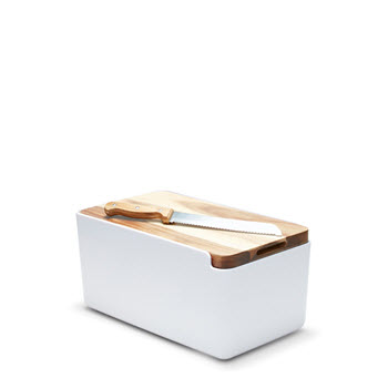 Salt & Pepper Hudson Bread Bin with Cutting Board Lid White