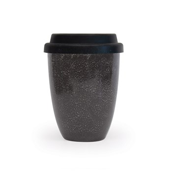 Salt & Pepper Barista Stoneware Traveller Mug with Silicone Lid 350ml Black
