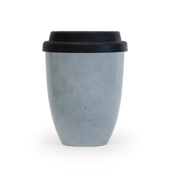 Salt & Pepper Barista Stoneware Traveller Mug with Silicone Lid 350ml Blue