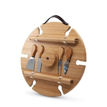 Salt & Pepper Picnic Bamboo Circular Wine Tray & Cheese Knives  33.5cm Natural