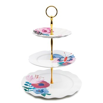 Salt & Pepper Willow New Bone China 3-Tier Cake Stand