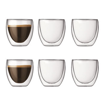 Bodum Pavina 80ml Double Wall Glass Set of 6