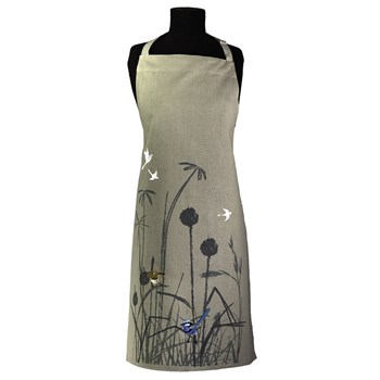 The Linen Press Organic Cotton Blue Wren Grassland Apron