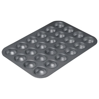 Chicago Metallic Carbon Steel 24 Cup Non-Stick Mini Muffin Pan 40 x 28cm Black