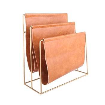 Ethos Leather Look Magazine Rack 38 x 18 x 40cm Brown & Gold