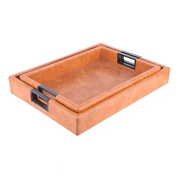 Ethos Set of 2 Leather Look Trays with Handles 41 x 31.5 x 3.5cm Brown & Black