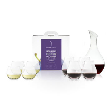 Plumm Spring Decanter & Plumm Vintage B Stemless Glass Set of 8