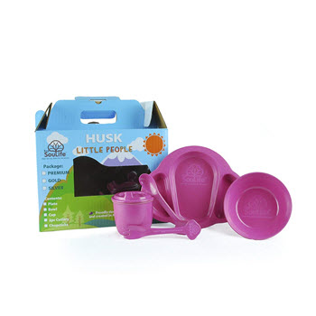 EcoSouLife Little People 5 Piece Dish Set Candy Pink