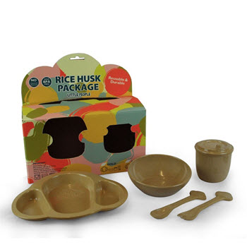 EcoSoulLife Rice Husk Little People 5 Piece Set Gold Natural