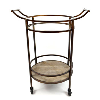 Casa Regalo Metal and Glass Round 2 Level Drinks Trolley Bronze 69 x 48 x 86cm