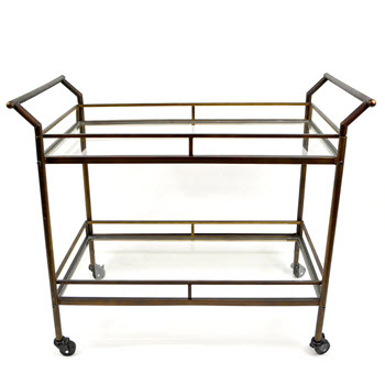 Casa Regalo Metal and Glass Rectangular 2 Level Drinks Trolley Bronze 91 x 45 x 81cm
