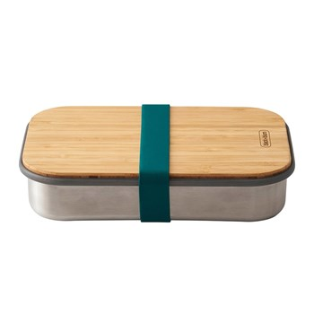 Black & Blum Stainless Steel & Bamboo Sandwich Box 900ml Ocean Blue