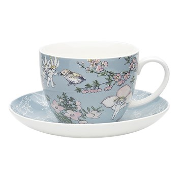 Ecology May Gibbs Flower Babies New Fine China Cup & Saucer Set 430ml Blue