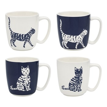 Ecology Porcelain 4 Piece Walking Cat Mug Set 300ml Blue & White