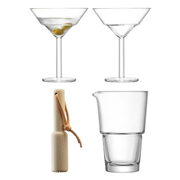 LSA Mixologist Glass & Wood Cocktail Duo Set