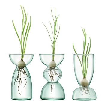 LSA Canopy Recycled Glass 3 Piece Vase Set 13cm