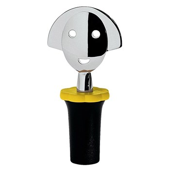 Alessi Anna G Chrome Plated Bottle Stopper 4 x 10cm Black