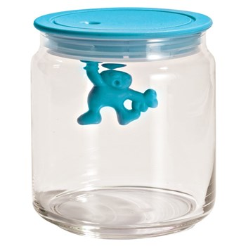 Alessi Gianni Glass Box Canister with Lid 700ml Blue