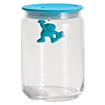 Alessi Gianni Glass Box Canister with Lid 900ml Blue