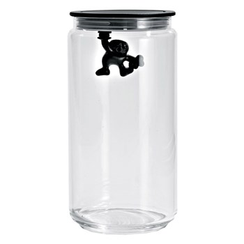 Alessi Gianni Glass Box Canister with Lid 1.4L Black