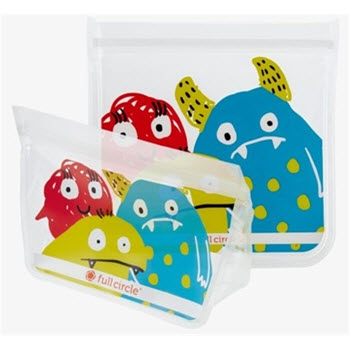 Full Circle Ziptuck Reusable Lunch Bags Monster Set of 2