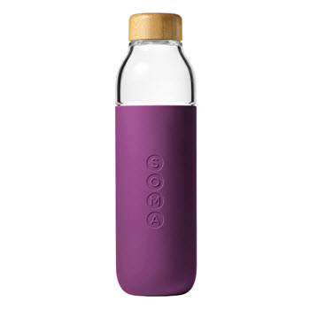 Soma Water Bottle Glass 470ml Eggplant