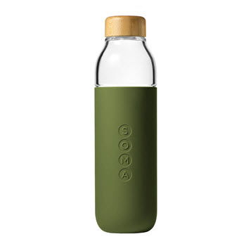 Soma Water Bottle Glass 470ml Olive