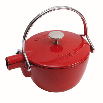 Staub Cast Iron Round Teapot/Kettle with Stainless Steel Tea Infuser 1.15L Cherry Red