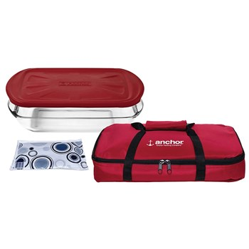 Anchor Hocking Bake n Take Glass Food Contianer & Hot/Cold Pack Set Red