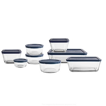 Anchor Hocking 8 Piece Glass Food Container Set Blue