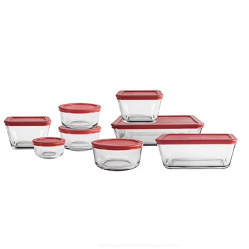 Anchor Hocking 8 Piece Glass Food Container Set Red