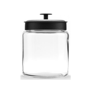 Anchor Hocking Montana 2.9L Storage Jar with Black Lid 22 x 17.5cm