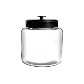 Anchor Hocking Montana 5.7L Storage Jar with Black Lid 25 x 17.5cm