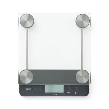 Taylor Glass & Chrome Digital Touchless Tare Kitchen Scale 13.6kg Black & Silver