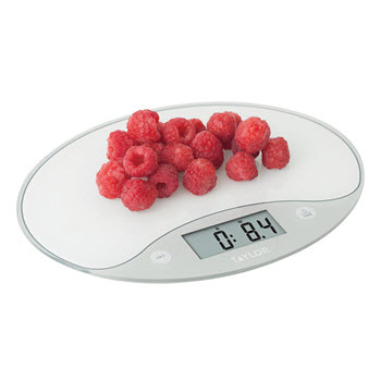 Taylor Glass & Plastic Digital Ultra-Slim Glass Kitchen Scale 5kg White & Silver